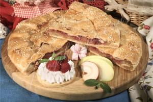 Пирог с яблоком и малиной (песочный)