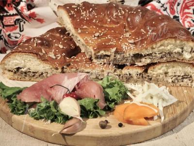 Пирог с капустой и мясом (говядина) (дрожжевой)