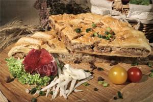 Пирог с капустой и мясом (говядина) (слоёный бездрожжевой)