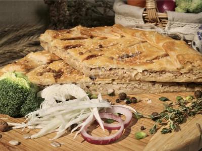 Пирог с капустой (слоёный бездрожжевой)