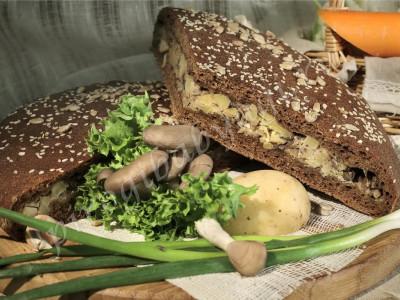 Пирог с картошкой и грибами (бездрожжевой на закваске)
