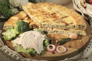 Пирог с курицей и грибами (слоёный бездрожжевой)