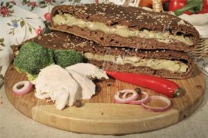 Пирог с курицей и грибами (бездрожжевой на закваске)