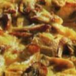Мясной пирог с шампиньонами
