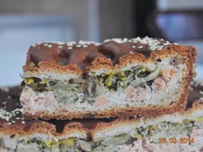 Пирог с треской (дрожжевой)